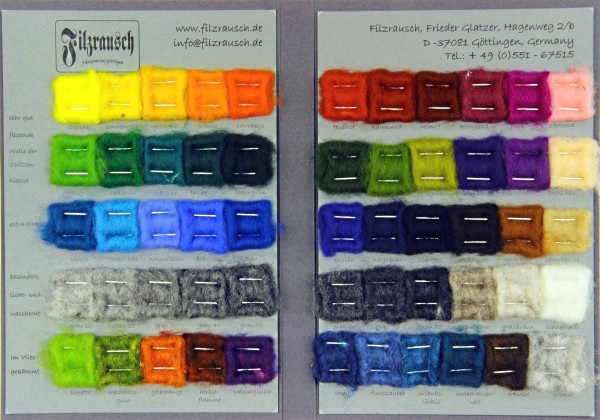 Farbmusterkarte Merinowolle, 19mic extra fein 55 Farben (bunt im Vlies)