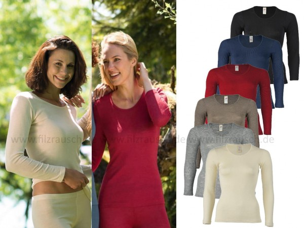 Damen-Shirt mit langem Arm, 70% Wolle (kbT)/30% Seide (Bio-GOTS)