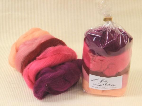 Bergschaf Mix - (lila-rosa) mittelfein 50 g im Band