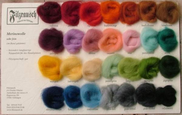 Farbmusterkarte Merinowolle, 21mic sehr fein 30 Farben (bunt im Band)
