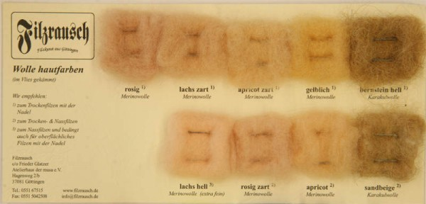 Farbmusterkarte Merinowolle, (hautfarben i. Vlies)