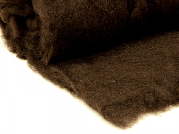 Bergschafwolle (bunt) - mokkabraun mittelfein im Vlies