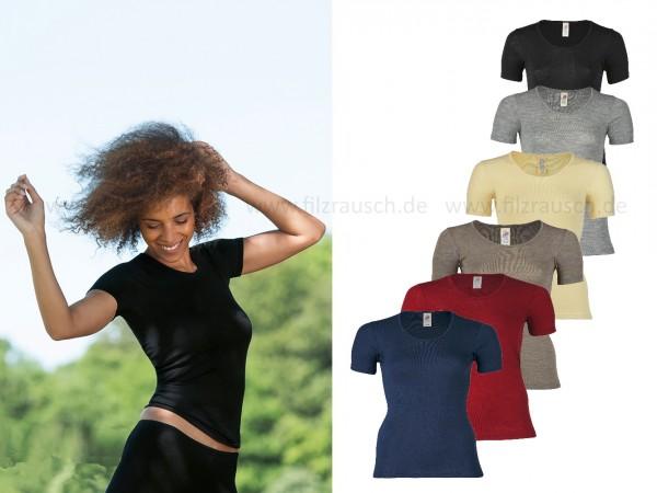 Damen-Shirt, kurzarm, 70%Wolle 30%Seide (Bio-GOTS, IVN)