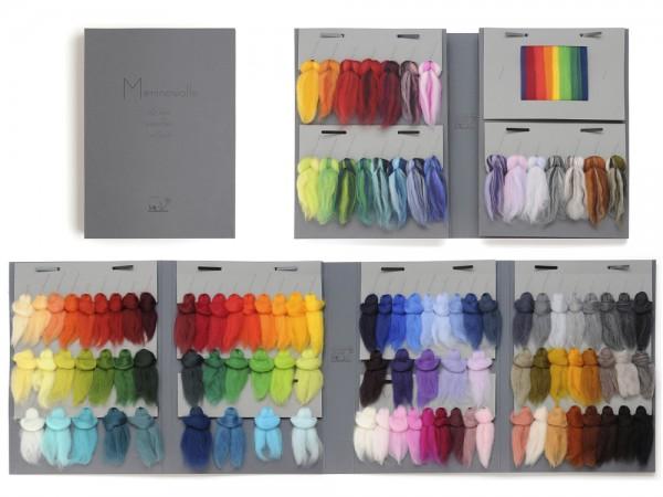 Farbmusterkarte Merinowolle, 16mic. super fein 109 Farben (bunt im Band)