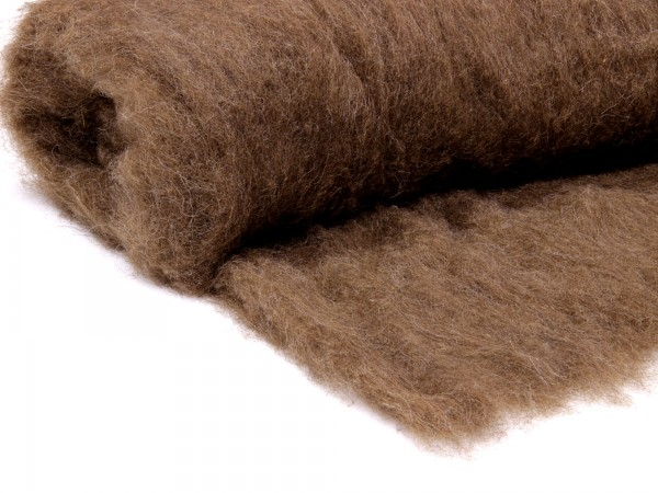 Bergschafwolle (bunt) - büffelbraun mittelfein im Vlies