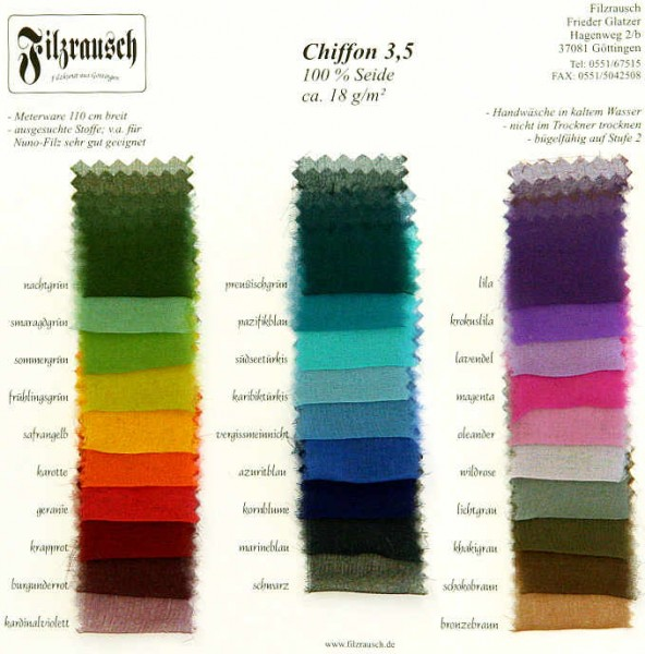 Farbmusterkarte Chiffon 3,5 - bunt 110 cm
