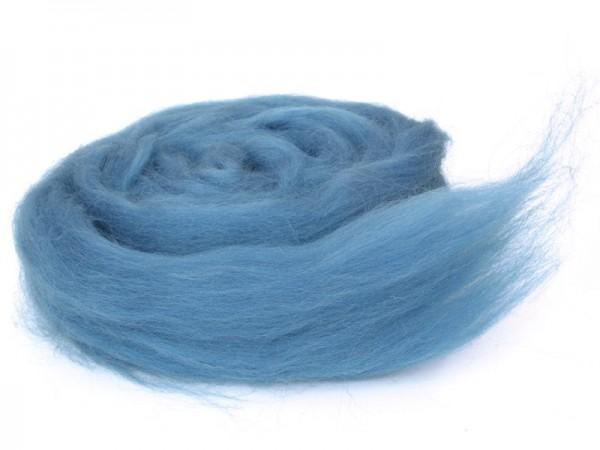 Bergschafwolle (bunt) - wasserblau mittelfein im Band