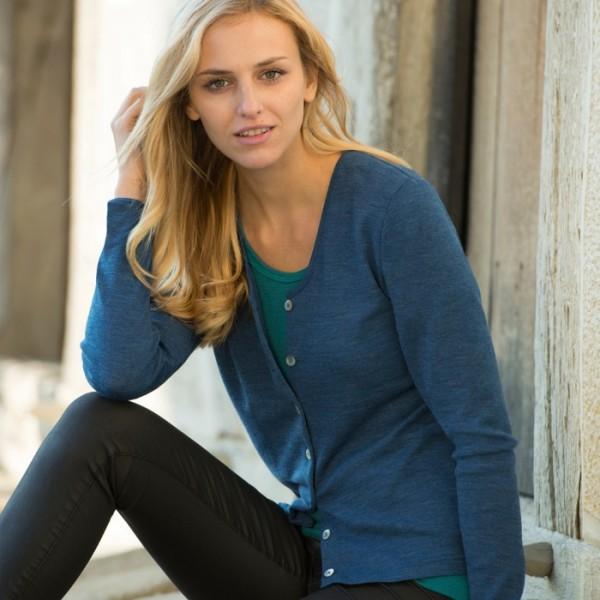 Damen-Shirt mit langem Arm, eisvogel, 38/40, 70% Wolle (kbT)/30% Seide