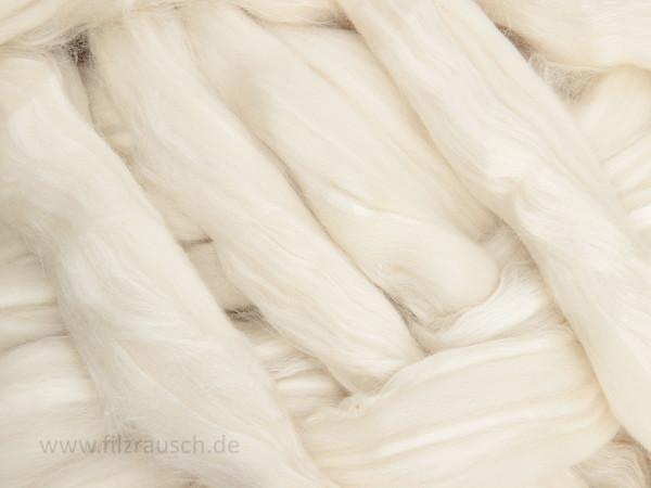 Tussahseide / 23mic Südamerik. Merinowolle sehr fein - weiße dame im Band