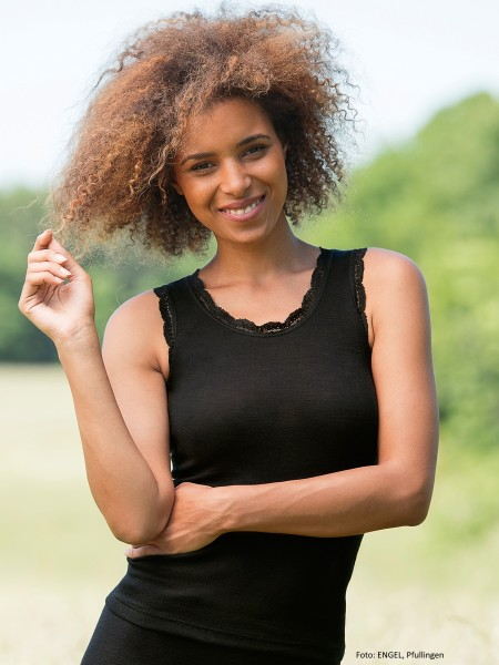 Damen-Achselshirt, 70% Wolle (kbT)/30% Seide (Spitze 90% Polyamid/ 10% Elasthan)