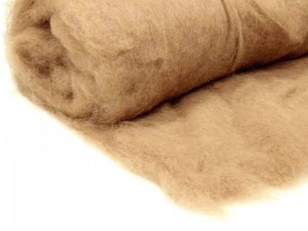 Bergschafwolle (bunt) - walnussbeige mittelfein im Vlies