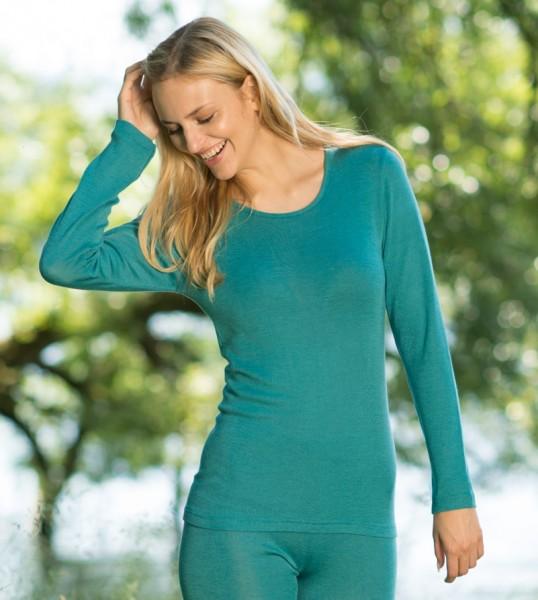 Damen-Shirt mit langem Arm, 70% Wolle (kbT)/30% Seide