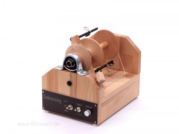 Holzwurmwolle E-Spinner Modell Zwirnzwerg 2.0 mit Transporttasche