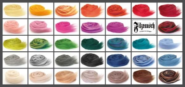 (Postkarte) Farbmusterkarte Bergschafwolle, 32mic mittelfein 34 Farben (bunt im Band)
