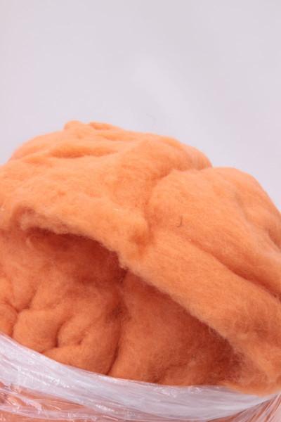 Sonderposten 19,00 Euro/kg - 2,3 kg Bergschafwolle, orange im Vlies gekämmt 30mic S408 -