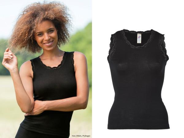 Damen-Achselshirt mit Spitze, schwarz 70% Wolle (kbT)/30% Seide (Spitze 90% Polyamid/ 10% Elasthan)