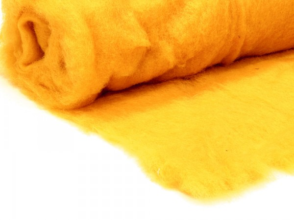 Bergschafwolle (bunt) - honiggelb mittelfein im Vlies