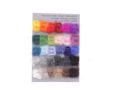 Lieferbar ab 01/2021 - Farbmusterkarte Bergschafwolle, 30mic mittelfein 30 Farben (bunt im Vlies)